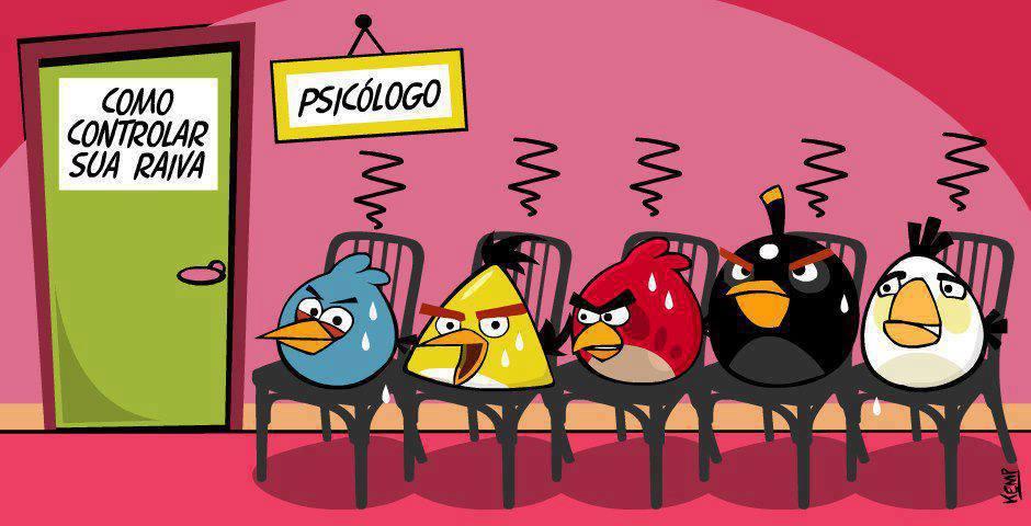 Os Angry Birds estão na sala de espera do psicólogo esperando sua consulta contra a raiva.